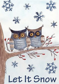 Accent Flag - Owls in the Snow Decorative Flag at Garden House Flags