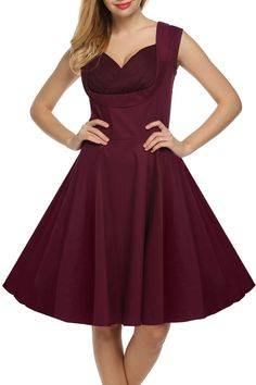 Black 1950s Vintage Style V-Neck Sleeveless High Waist Solid Party Cocktail Evening Swing Dress