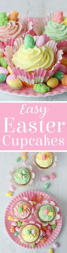 These Easy Easter Cupcakes include a perfect vanilla cupcake recipe, delicious cream cheese frosting, and pretty pastel spring candies. Spring Cupcakes, Easter Cupcakes, Easter Cookies, Easter Treats, Easter Food, Flower Cupcakes, Christmas Cupcakes, Easter Bunny, Vanilla Cream Cheese Frosting