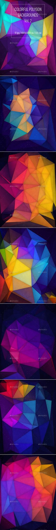 Colorful Polygon Backgrounds Vol.2 by groovydes This pack includes 10 colorful polygon backgrounds in JPG. Suitable for printing, web design, banners, posters 鈥?20Pixel Dimensions