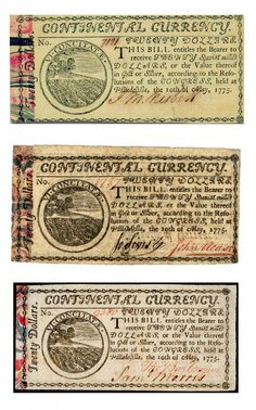 Marbled Edge Continental Currency: Early American paper money is separated into two categories: colonial currency, issued by the individual colonies as early as 1690 and continental currency, issued from 1775 until 1779 by the newly formed Continental Congress. #ephemera #history
