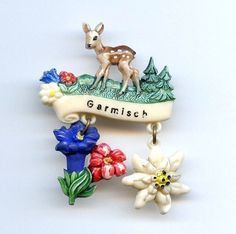 Vtg Garmisch Bavaria Deer Fawn Edelweiss Souvenir Celluloid Dangle Charm Pin