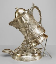American Victorian (Aestetic Movement) Silver-Plate Ice Water Pitcher On Stand With Tray And Handle Etched With Japanese Designs - Marked: Rogers & Bro. Triple Plate