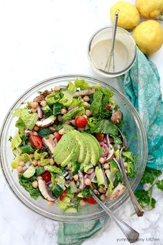 Delicious healthy vegetarian and vegan Mediterranean salad with tahini dressing and chickpeas.