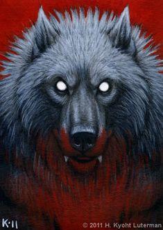 Werewolf Portrait ACEO by kyoht.deviantart.com on @DeviantArt