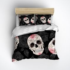 Fleece Pink Rose Sugar Skull Bedding
