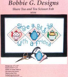 Share Tea and Tea Scissor Fob Cross Stitch Chart by Bobbie G Designs