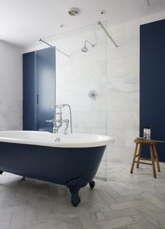Modern and minimal bathroom decor featuring Stiffkey Blue by Farrow & Ball Modern Luxury Bathroom, Bathroom Design Luxury, Beautiful Bathrooms, Minimal Bathroom, Luxury Bathrooms, Simple Bathroom, Modern Georgian, Georgian Style Homes, Bathroom Red