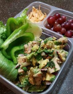 Avocado Chicken Salad adult Paleo lunchbox! Soy free, dairy free, Mayo free chicken salad!