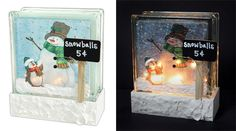 Snowman Napkin Glass Block - Click through for project instructions.