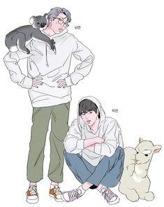 Namjin fanart and pictures, we can't forget about the parents uwu💜 Namjoon, Seokjin, Rapmon, Taehyung, Vmin, Fanart Bts, Yoonmin Fanart, Bts Drawings, Bts Chibi