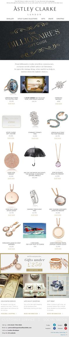 Really fun holiday content from Astley Clarke - The Billionaire's Gift Guide. Check out the $50,000 crocodile leather umbrella!! Holiday Emails, Astley Clarke, Email Design, Crocodile, Holiday Fun, Gift Guide, Content, Check, Leather