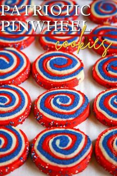 Delicious red, white and blue pinwheel cookies coated in patriotic sprinkles - Patriotic Pinwheel Cookies are the perfect dessert for the 4th of July, Memorial Day or just to celebrate all things red, white, and blue.