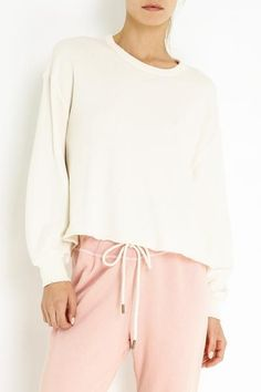 We love this cropped boxy sweatshirt style with a raw frayed hem. Cotton Polyester Model is wearing size 1 Size 1 - Length 20 1 / 4 Sleeve Length 18 7 / 8 Machine Wash Cold Tumble Dry Low Made in the U. Cut Off Sweatshirt, Short Dresses, How To Make, How To Wear, Sweatshirts, Model, Cotton, Pastel, Cold