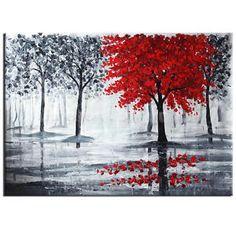 Peinture-Toile-Huile-Oils-Tableau-Art-Abstraite-Paysage-Arbre-Rouge-epanouie