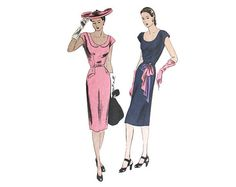 Vintage 1940s Slim Wiggle Dress Pattern Vogue by VtgSewingPatterns