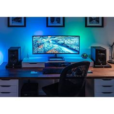 Ultra wide setup for large overview and awesome looks! Lightning being a mig of blue and green color! looks awesome and simple clean at same time! Simple Computer Desk, Computer Desk Setup, Pc Desk, Gaming Desk, Best Gaming Setup, Gaming Room Setup, Pc Setup, Gaming Rooms, Dream Desk