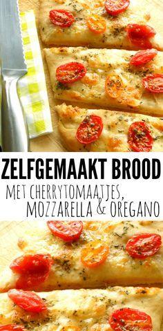 Zelfgemaakt brood met cherrytomaatjes, mozzarella & oregano. Heerlijk bij een kop soep, maar ook zeer geschikt als borrelhapje of voor bij een picknick.