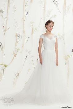 lillian west spring 2016 bridal cap sleeves bateau illusion neckline sweetheart cutout pretty tulle a  line ball gown wedding dress style 6375 -- Lillian West Spring 2016 Wedding Dresses