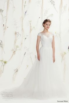 Lillian West Spring 2016 Wedding Dresses   Wedding Inspirasi   Ultra Dreamy & Romantic Bridal Gown With Pretty, Lace Bodice Sheer Neckline, Full Tulle Skirt Featuring Chapel Length Train^^^^