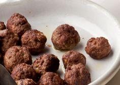 Chile-Cumin Lamb Meatballs with Yogurt and Cucumber Recipe - Bon Appétit Tagine Recipes, Lamb Recipes, Cooking Recipes, How To Cook Meatballs, Chicken Meatballs, Moroccan Beef, Cumin Lamb, Chicken Meatball Recipes, Meatball Soup