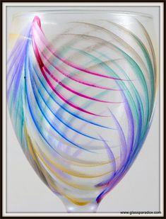 Hand-Painted Fan Wine Glass