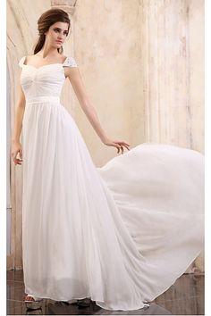 White Chiffon Natural Floor-length Prom Dresses