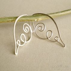 Handmade Angel Wing Earrings in 20 gauge - Argentium Silver Hoops