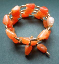 Memory Wire Orange Beaded Bracelet by RedRadishStudio on Etsy, $14.95 Wire, Beaded Bracelets, Jewellery, Orange, Studio, Handmade, Etsy, Hand Made, Jewels