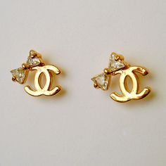 Chanel Gold Bow Tie Earring Studs