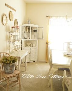 beautiful white colored country farm house dining room