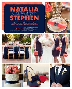 An elegant, bold inspiration board to match a classic but vibrant color combination of navy and coral.
