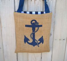 Eco Friendly Nautical Anchor Burlap Tote Bag - Handmade from Recycled Coffee Sacks
