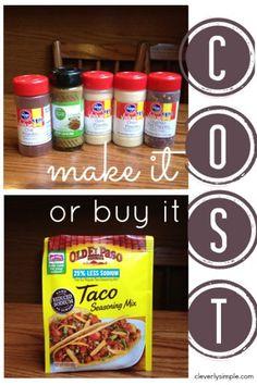 Homemade Taco Seasoning Cost