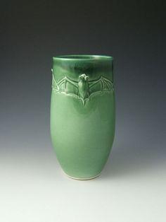 Green Bat Vase Cathouse Pottery