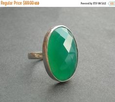 ON SALE Emerald green ring – Faceted ring – Oval ring – Green onyx ring – Gemstone ring – Cab ring – Gift for her