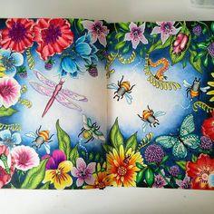 Firts double spread in summernights #sommarnatt #summernightcoloringbook #hannakarlzonsommarnatt #adultcoloring #colouring