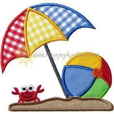 Beach Umbrella Ball Applique Design