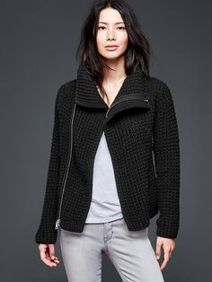 I LOVE moto jackets and I love sweaters. Together, this is a piece is get a lot of wear out of.