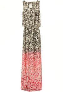 Pink Sleeveless Leopard Print Split Dress US$17.67
