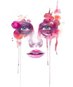 This colorful watercolor painting by Marion Bolognesi is so pretty! Love the colors, and the smeared look the paint has. This portrait here is simply stunning. Watercolor Art Face, Watercolor Art Paintings, Watercolor Portraits, Painting & Drawing, Watercolours, Watercolor Tattoo, Marion Bolognesi, Art Visage, Inspiration Artistique