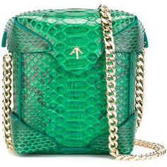 Manu Atelier micro 'Pristine' crossbody bag (£595) ❤ liked on Polyvore featuring bags, handbags, shoulder bags, green, green shoulder bag, green cross body purse, green handbags, python purse and cross body