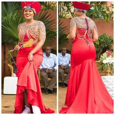 Zulu Bride In Red Traditional Wedding Dress, Isicholo Hat, Body Beads and White Sneakers Zulu Traditional Wedding Dresses, Zulu Traditional Attire, Traditional African Clothing, Traditional Wedding Attire, Traditional Weddings, Cute Birthday Outfits, African Wedding Attire, Short African Dresses, Ceremony Dresses