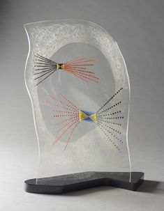 László Moholy-Nagy, Vertical Black, Red, Blue, 1945. Oil and incised lines on Plexiglas, on original base. 18 × 14¼ × 6¼ in. Los Angeles County Museum of Art, Purchased with funds provided by Alice and Nahum Lainer, the Ducommun and Gross Acquisition Fund, the Fannie and Alan Leslie Bequest, and the Modern and Contemporary Art Council (M.2012.135a-b) © 2017