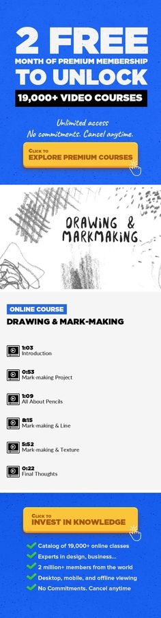 Drawing & Mark-making Art, Drawing, Fine Art, Sketching, Creative, Creative Insights #onlinecourses #bestonlinecollege #onlinebusinessentrepreneur   Have you ever taken the time to really explore what your humble pencil can do? In this class learn about grades of pencils and how they can be used to create different types of line and texture. This is a practical exercise for testing the potential ...
