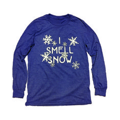 """This Gilmore Girls inspired long-sleeved I Smell Snow shirt is a super  soft, heather blue tri-blend shirt like all of our other shirts, but it's a  """"lightweight Anvil"""" long sleeve instead of Next Level, simply so we could  print on a unisex tee. It's perfect for, well, just about anything. True to  size, unlike our crew cut and v neck tees."""