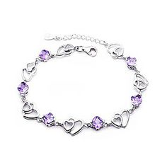 Xenia Women's Purple 925 Silver 17.9cm Crystal Heart To Heart Hand Chain