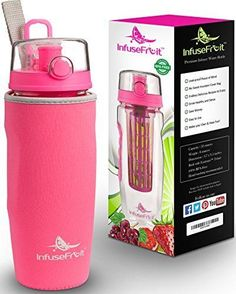 The Only Infuser Water Bottle with No-Sweat Insulating Sleeve - Multiple Colo... #InfuseFruit