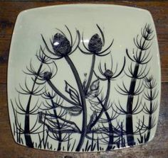 Hand painted dish with teazles, Mare's tail and hogweed. Steven Jenkins