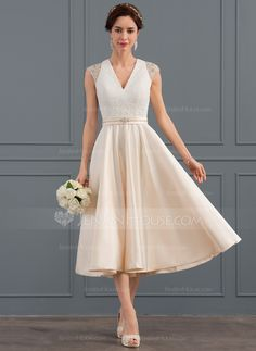 100990e42672   154.00  A-Line V-neck Tea-Length Satin Wedding Dress With Beading Sequins  (002127244). Abito Da ...